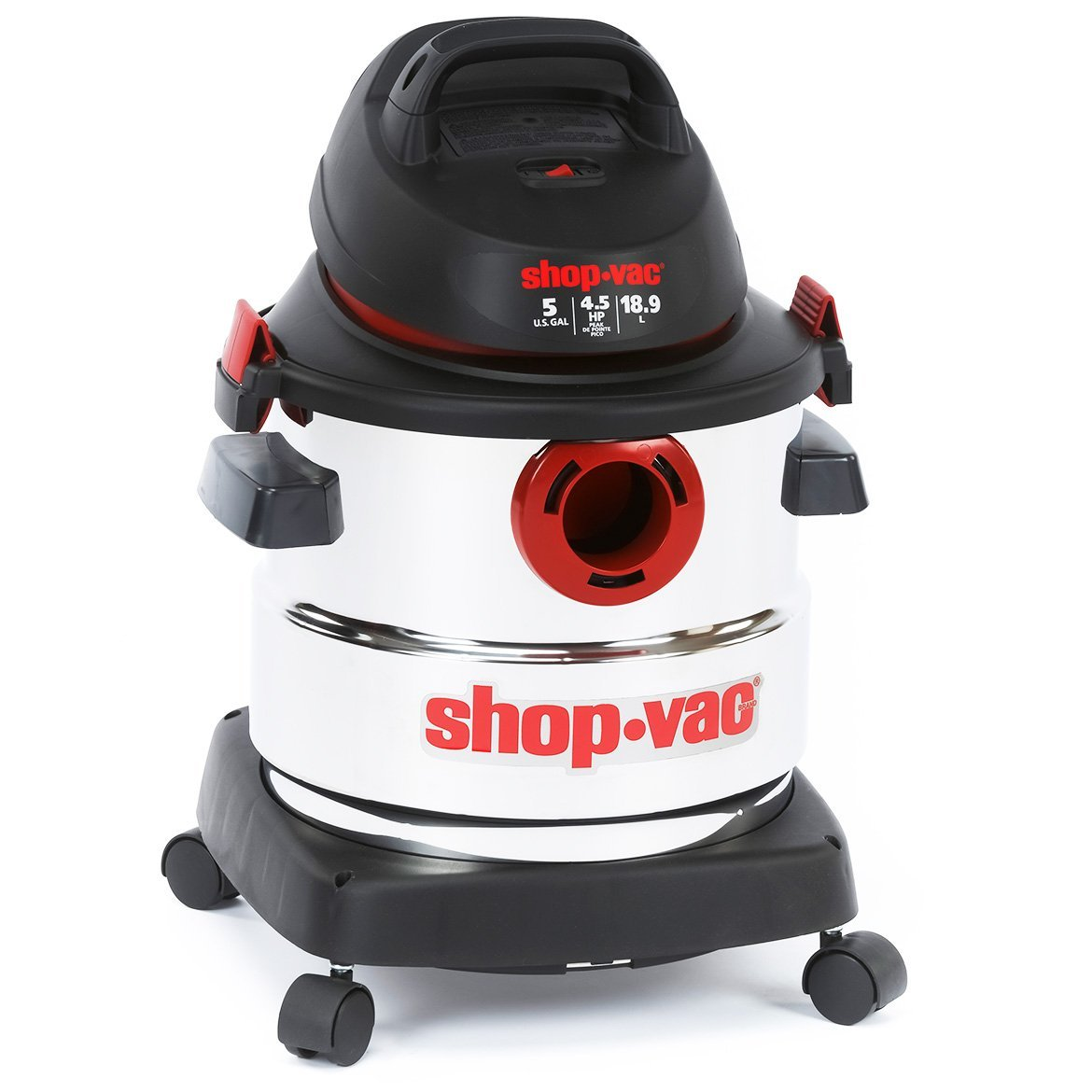 Shop-Vac 5989300 5 Gallon 4.5 Peak HP Stainless Wet Dry Vacuum