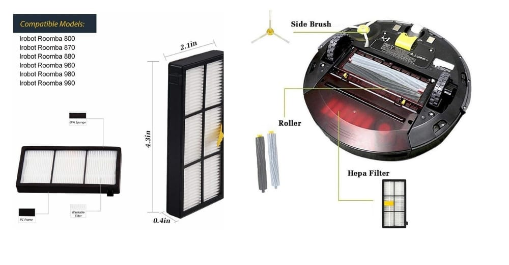 Replacement HEPA Filters For Roomba 800 Series