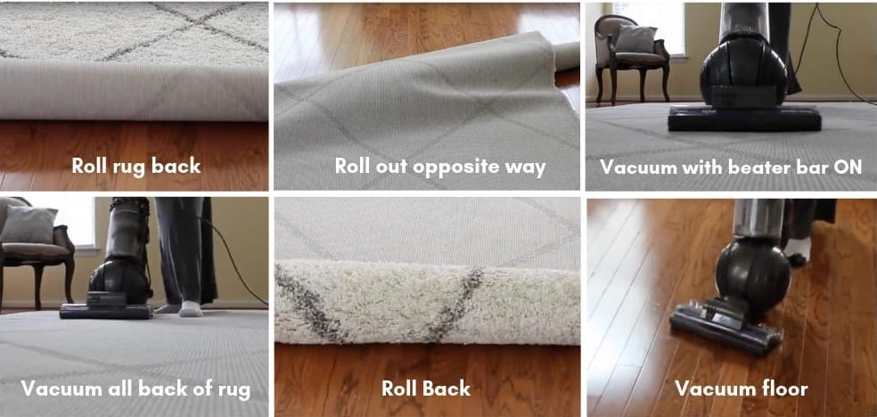 step for cleaning wool rugs.