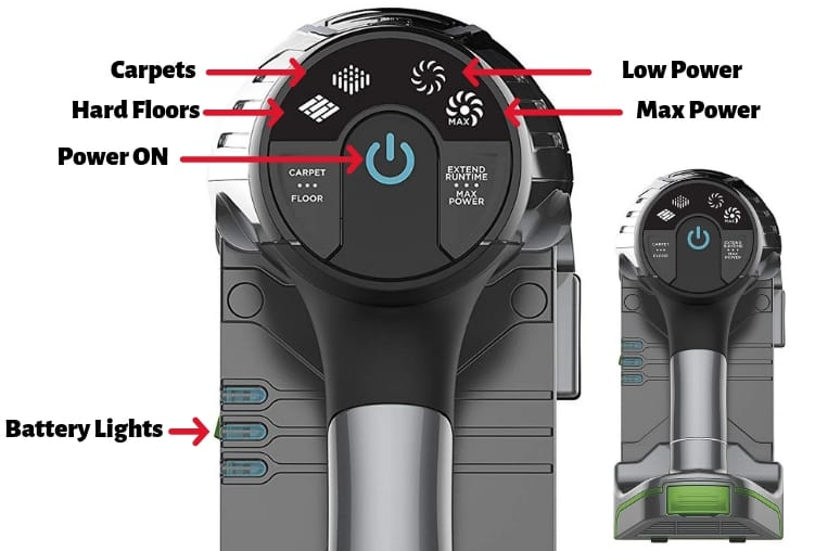 shark ion flex 2x-control-settings